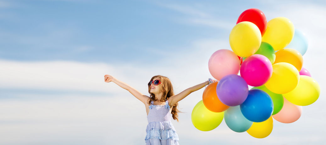 53475499 - summer holidays, celebration, family, children and people concept - happy girl with colorful balloons