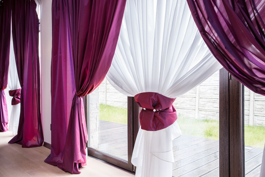 54783718 - elegant curtain and purple drapes in luxury residence