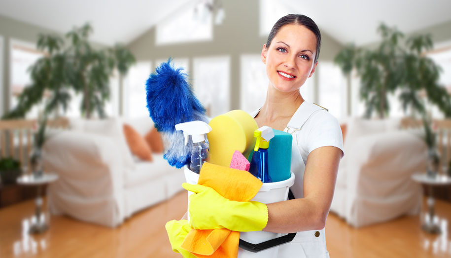 45541896 - young smiling maid. house cleaning service concept.