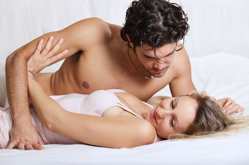 35877045 - beautiful woman refusing intimacy with her man in bed . couple problems concept