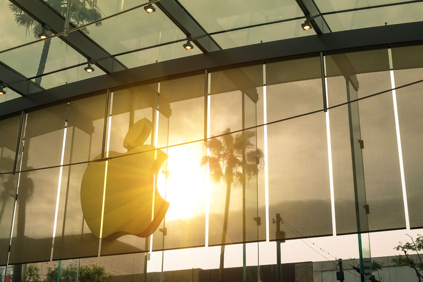 47157881 - los angeles - 19 march 2015: sunset silhouette of main logo at apple store on 3rd street in santa monica. the chain owned and operated by apple inc is dealing with computers and electronics worldwide