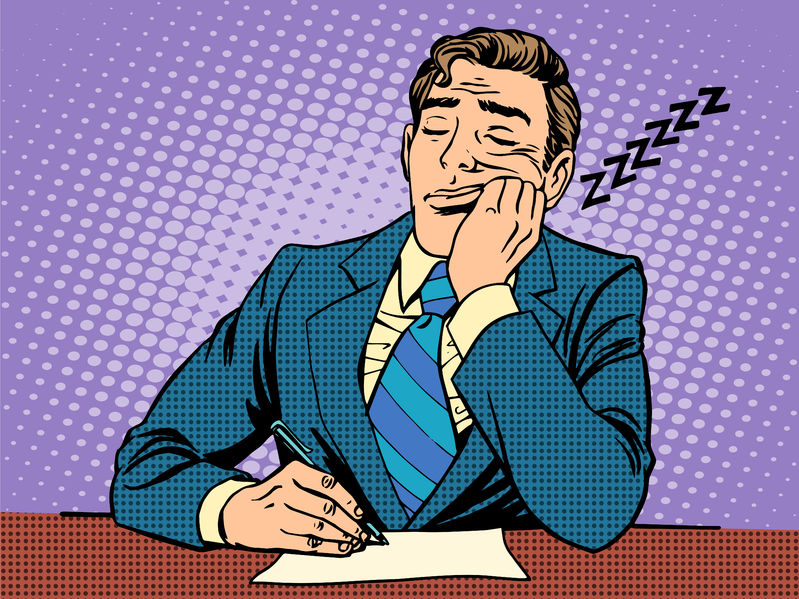 47522426 - boring report. a man fell asleep on lectures pop art retro style
