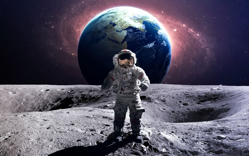 50433047 - brave astronaut at the spacewalk on the moon.