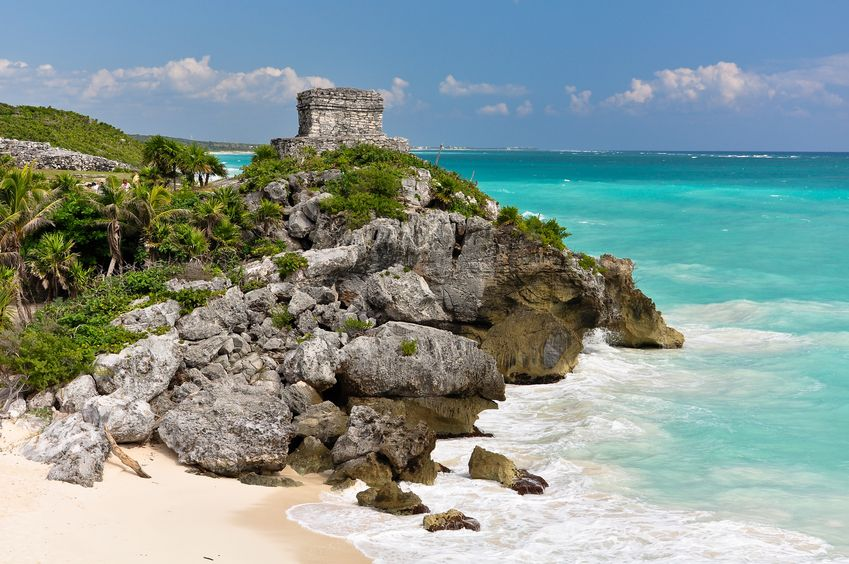12682347 - beautiful beach in tulum mexico, mayan ruins on top of the cliff