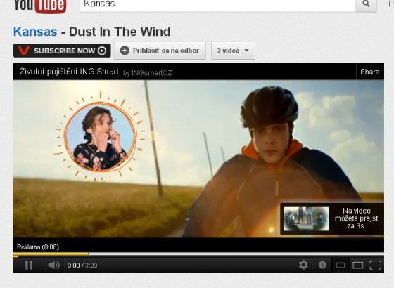 Počúvam Kansas - Dust in the Wind a do toho reklama