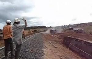 Vykoľajený vlak v Brazílii