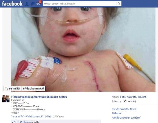 Facebook svinstvo - podvodná fotografia