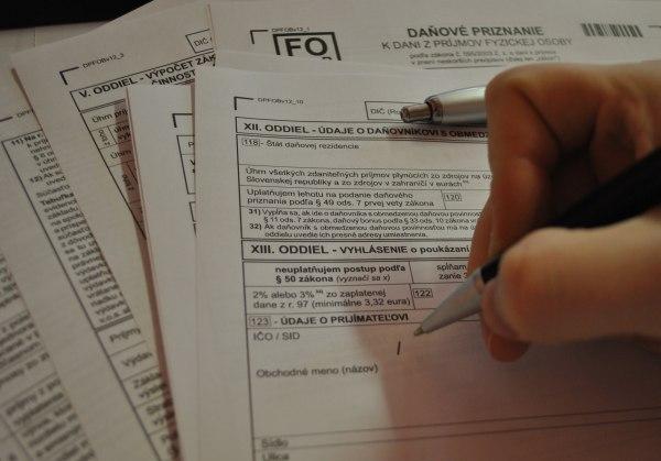 FO daňové priznanie a 2 percentá z daní