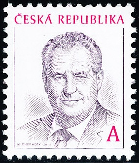 Miloš Zeman, na známke