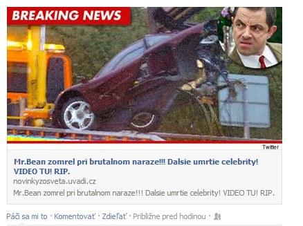 Mr. Bean zomrel havária - Fake