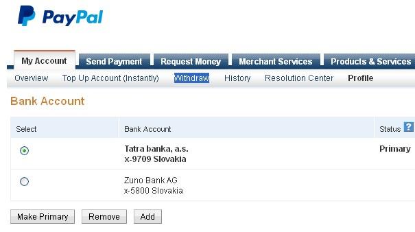 Paypal, posielanie peňazí