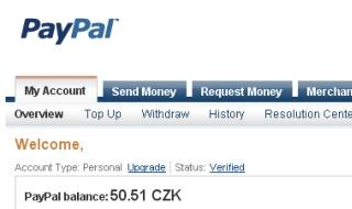 Paypal účet v ČR