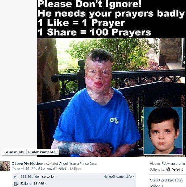 Podvod Facebooku s like na chlapca