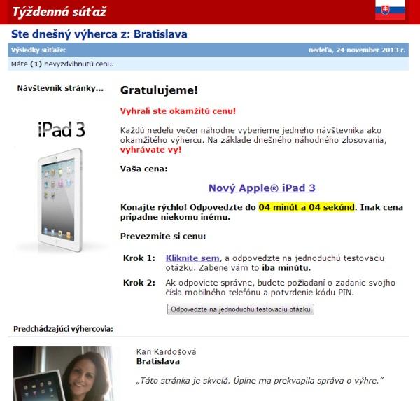 Podvodná súťaž iPad 3