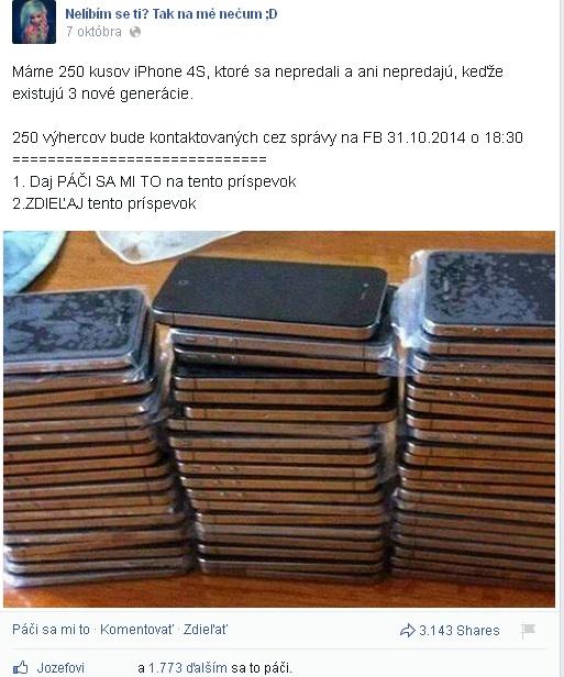 Podvodník Facebook súťaž iPhone 4S
